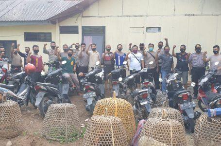 Penjudi Sabung Ayam Kocar Kacir, 29 unit Sepeda Motor Diamankan Polisi