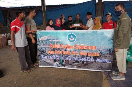 Bantuan Dikbud Sumbawa untuk Korban Kebakaran Baturotok Ratusan Juta