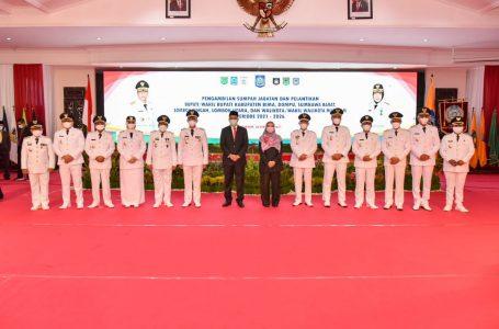 Gubernur NTB Lantik 6 Kepala Daerah, Sumbawa Masih Berproses di MK