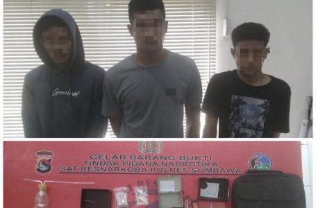 Polres Sumbawa Tangkap 3 Pemuda, 54,44 Gram Sabu Diamankan